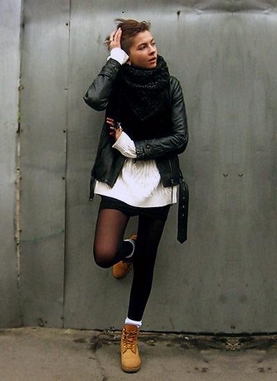 黒レザージャケット×ティンバーランド(ブーツ)のコーデ
