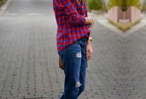 ブロックチェックシャツ+ジーンズの大人アメカジコーデ