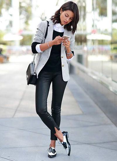 ホワイトジャケット+レザー ...