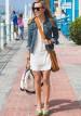 デニムジャケット(Gジャン)×白ワンピースの着こなし