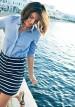 ボーダータイトスカート×シャンブレーシャツのコーデ